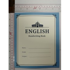 English handwriting exercise book with positional circle